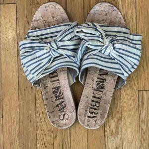 Sam & Libby Striped Bow Slides